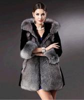 2015 Black Faux Long Mink Coats Elegant Fashion Winter Coats Sudadera-mujer Women Mink Fur Coats