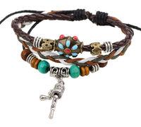 BA174 Wholesale Handmade Colorful Bohemia beads Leather Adjustable Bracelet Wristband Jewelry Bijouterie Unisex Girls Woman