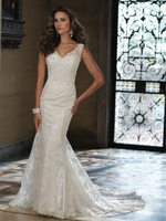 Sexy V Neck Wedding Dresses Mermaid Lace Covered Back Bridal Gowns With Train New Fashion