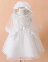 Newborn baby baptized children dress wedding white girl princess lace christening gown baby Infant 3pcs / set chiffon dresses
