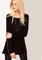 sweep symmetrical oblique zipper black long-sleeve o-neck medium-long basic shirt female