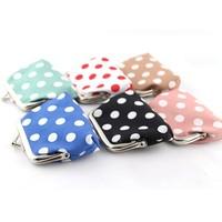 2pcs/lot Free Shipping Cute Fashion Dot Wallet Mini Handbag Pouch Purse Coin Key Bag Women Lady Gift