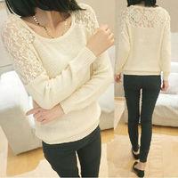 Womens Casual Long Sleeve Knitwear Jumper Lace Cardigan Long Coat Jacket Sweater