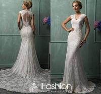 Promotion Modern Fishtail V Neckline Sheer Back Bridal Wedding Gown Dress Court Train Lace Wedding Dress WB009