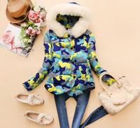 2014 New Arrival,Occident Women's Slim Contrast Color Cotton Jacket,Thick Warm Camouflage Big Fur Cotton Coat,2 Colors,Size M-XL