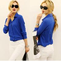 2015 new women autumn long-sleeve vintage women Chiffon shirt blouse blusas femininas 4 Sizes 3 colors WG#