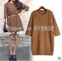 Retro twist split round neck Three quarter sleeved knitted dress, quality women knitting mini dress, Autumn short knitted dress