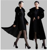 2015 Luxury faux fur mink cashmere women's coat new fashion women coat gorgeous upscale fur coat with natural fur coat long E044