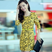 FREE SHIPPING counter boutique long sleeve slim unique vintage printing belt elastic knitted dresses