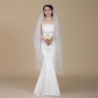 2014 new arrival wedding dress accessories multi-layer yarn grid white bridal accessories veil multi-layer veil