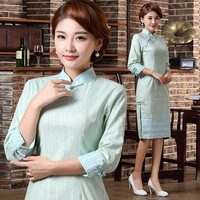 2014 fall and winter clothes new fashion sleeved improved cheongsam dress retro Slim Long cotton dress autumn