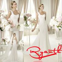 RBW174 Vestidos De Noiva Elegant One-Shoulder Sweetheart Sheath Wedding Dresses 2015 White/Ivory Bridal Gowns Wedding Gowns