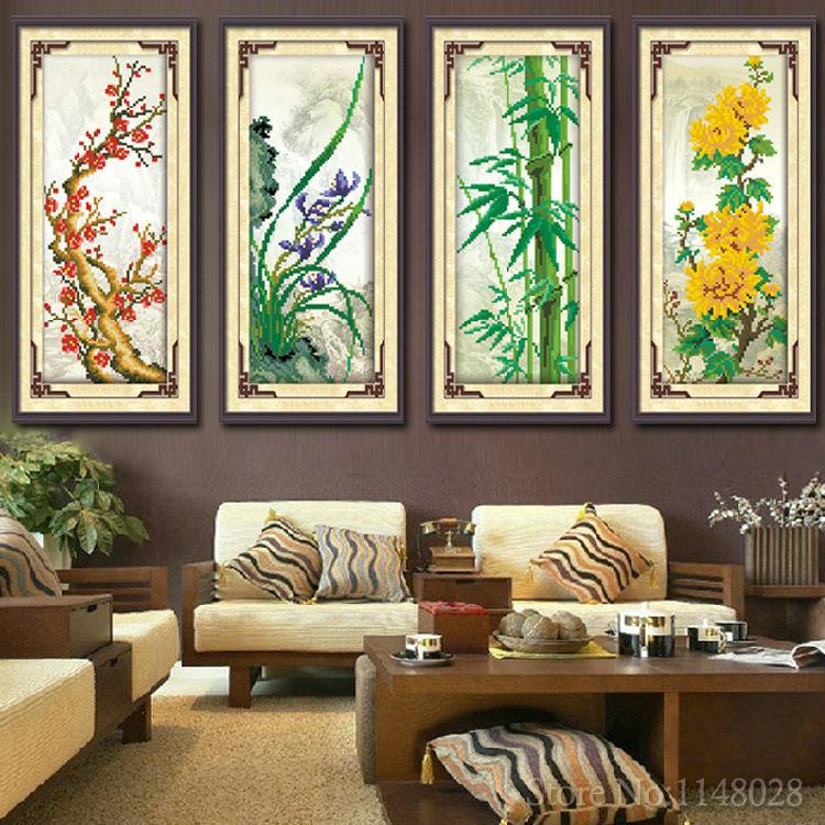 Round DIY Diamond Painting Rhinestones 5D Crystal Embroidery Needlework House Decoration Flower Plum Orchid Bamboo Chrysanthemum(China (Mainland))