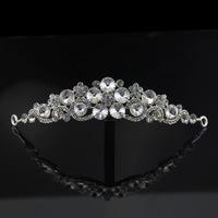 New Arrival 2014 Luxurious clear Crystal flower Tiara Vintage Rhinestone Crown Bridal jewelry Wedding hair Accessories XB65