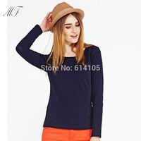 women t shirt,casual 12 color round neck long sleeve stretch thin fleece autumn winter basic t shirt,fashion shirt women