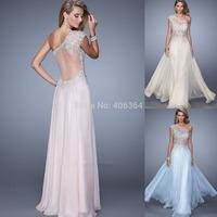 Elegant Floor Length A-Line One-Shoulder See Through Sexy Evening Dress Long Prom Dress 2015 New Vestido