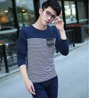 New Brand 2015  Fashion New Men's Long Sleeve T shirt 100% Cotton Casual Slim Tshirt For Men Brand Design T-shirt  Men