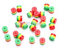 100pcs/lot 9mm DIY charm Jamaica reggae rasta three colors red yellow green resin zebra stripe spacer loose bead