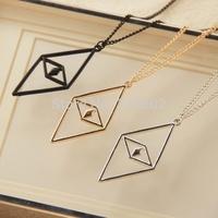 12pcs/lot latest fashion women jewelry accessories rhombus shaped pendant necklaces 2015