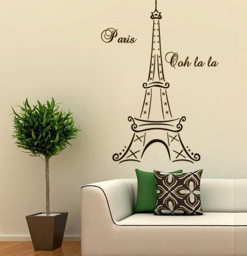 France Eiffel Tower happy personality living room study fashion trade PVC wall stickers customized Amazon P325(China (Mainland))