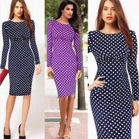 Hot Sale New 2015 autumn winter polka dots print dresses women long sleeve knee-length casual dress purple blue