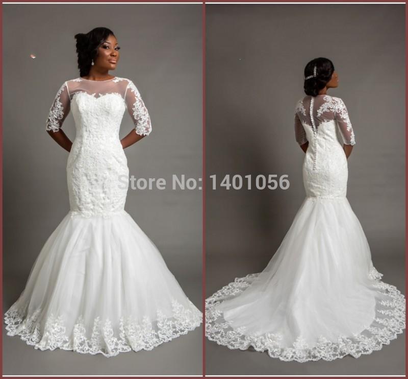 Court Train Pearl White Bridal Dresses Half Illusion Sleeve Sheer Lace Appliqued Nigeria Off