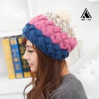 Hat female yarn sweet women's cute rabbit fur ball thermal knitted hat ear cap protector