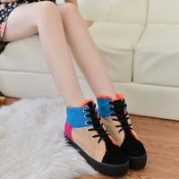 2014 plus velvet winter cotton-padded shoes women boots platform  women's thick shoes lacing snow boots