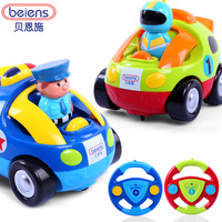 Sallei child puzzle cartoon remote control car remote control baby toy music wireless car police car automobile race