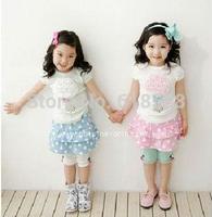 Retail Discount 2015 baby girls summer clothing set, 2pcs sets Flower short-sleeved T Blouses+Skirt Dot Children suit