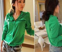 Free Shipping S- 5XL Plus Size Women Blouse New 2014 Spring Autumn Korean Fashion Casual Green/Pink Long Sleeve Shirt Hot Sale