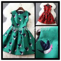 2015 autumn winter new arrival women's sleeveless bird embroidery one-piece dress free shipping 2650