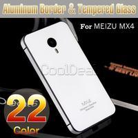 22 Color,Aluminum Frame/Border & Toughened Glass Back Cover Case For MEIZU MX4 MX 4 Luxury Mobile Phone Bag Battery Cover