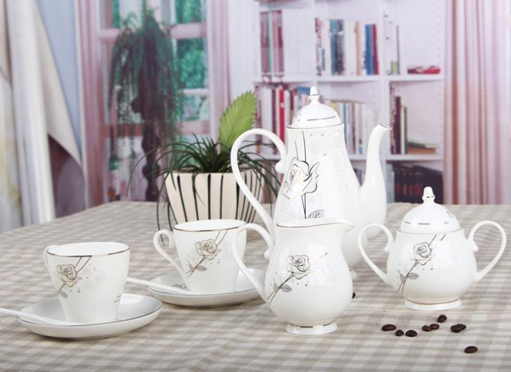 European Style High grade Luxury Bone China Ceramic Tea And Coffee Set