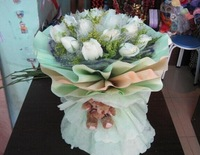 Artificial Flowers Christmas Decoration Teddy Bear Cartoon Bouquets Valentine's Day Birthday Gift Bouquet of the Soft Toys