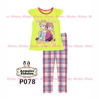 Dec-22 Girls Princess Elsa & Anna Clothing Set Kids Cartoon Clothes New 2014 Wholesale Children Frozen Pajamas Sets P-078 081