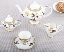 European Style High grade Luxury Bone China Ceramic Tea And Coffee Set
