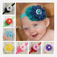 Baby Girl Headband Newborn Shabby Chic Flower Headband Infant Hair Bows Hairbow Kids Hair Accessories 10pcs HB084