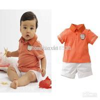 2015 Discount retail Fashion New Boys Suit Orange Cotton Short Sleeves Lapel T-Shirt + shorts For Summer Clothes