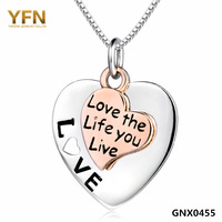 "GNX0455 Genuine 925 Sterling Silver Necklace ""Love The Life You Live"" Engraved Jewelry Hearts Pendant Necklace 18"" For Women"
