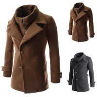 2014 winter new men's oblique placket detachable fake two single breasted wool coat