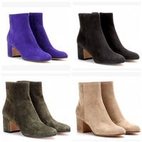 New Designer Sheep Suede Ankle Boots Solid Color Square Heels Women Short Bootie Size 34-41 Wholesale Price