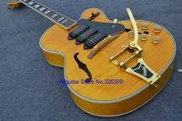 BEST-Selling ES335 guitar gold hardware semi hollow golden color rocking bar electric guitars