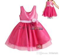Discount promotion Retail High quality New Girls princess Dress Pink Sleeveless Flower belt Party Dress