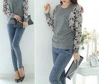 Casual Pullover 2015 New Autumn Fashion Style Woman Sweatshirt Lace Splice Flounces Loose Moleton Feminino Free Shipping  Mall3