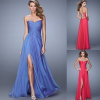 New Fashion Cheap Floor Length A-Line Pleated Sweetheart Evening Dresses Prom Dress With Beaded 2015 Vestido