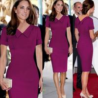 2014 Newest Women Elegant Top quality cotton Blend Fashion Women Turn-down Collar Party Knee-Length Dress S-XXL