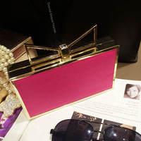 Wild Cute Bow Perfume Bottle Box Bag Clutch Evening Bag European and American Brand Fashion Chain Messenger bag PU Acrylic mb465