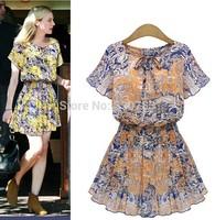 2015 Brazil women fashion summer new flower print dress o-Neck short sleeve chiffon casual dress vestidos roupas femininas