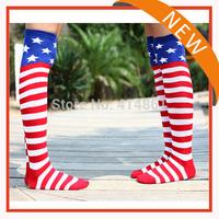 Free shipping Girl The American flag stripe pentagram silk stockings sports dance jazz their sockings( 1 pair=1lot)